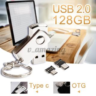 3 IN1 128GB USB 2.0 Flash Drive Memory Stick Disk + Type C OTG Micro USB Adapter