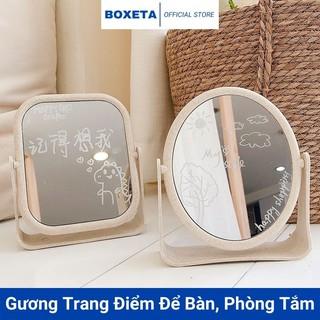 Gương để bàn trang điểm, gương soi hình tròn, vuông hai mặt xoay 360 độ để bàn, phòng tắm