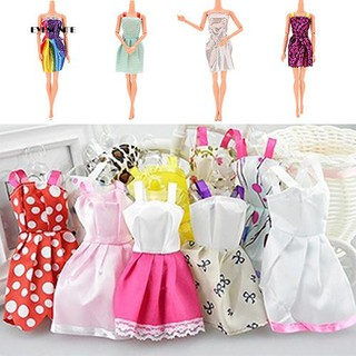 ♕10Pcs/Lot Mixed Styles Short Gown Clothes Tutu Princess Dresses for Dollhouses