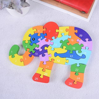 KJ♠ Wooden elephant jigsaw puzzle numbers alphabet building blocks kids toy