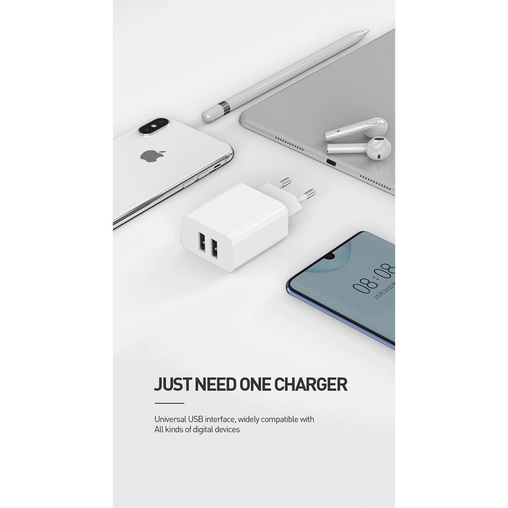 Củ Sạc Mcdodo 2 Cổng USB Phích Cắm EU 2.4A Dành Cho Điện Thoại