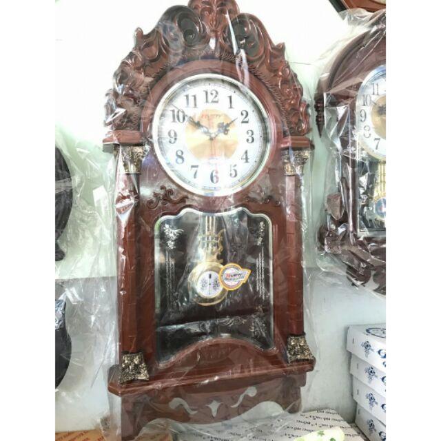 Đồng hồ treo tường quả lắc (nhựa cao cấp giả gỗ size 78x36cm)