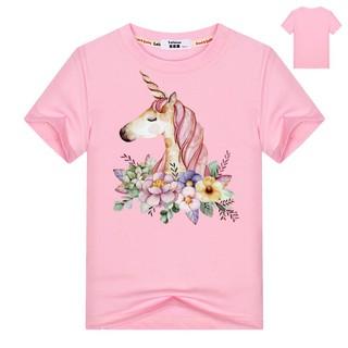 Áo thun cotton ngắn tay in họa tiết kỳ lân thời trang mùa hè cho bé gái