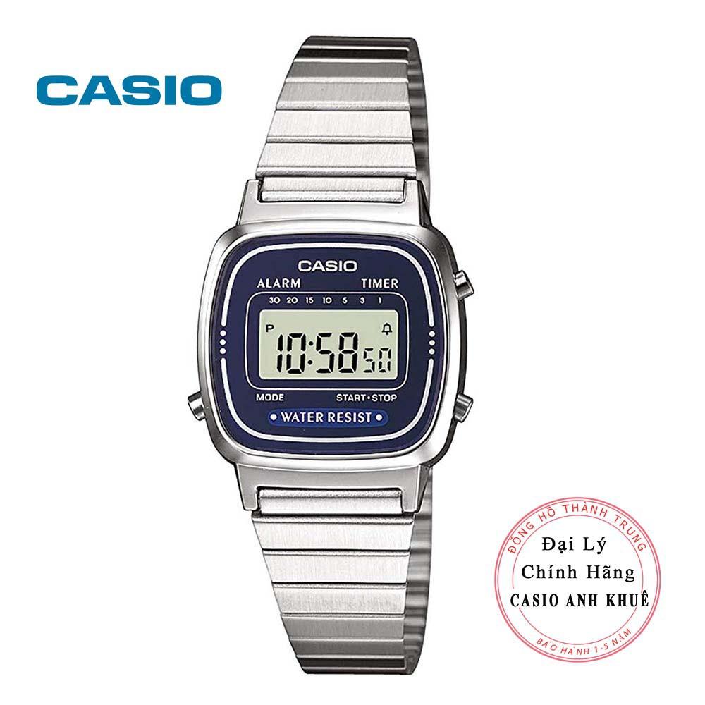 Đồng hồ điện tử nữ Casio LA670WA-2DF dây kim loại