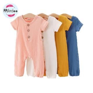 Áo liền quần Mikrdoo cotton ngắn tay dễ thương cho bé