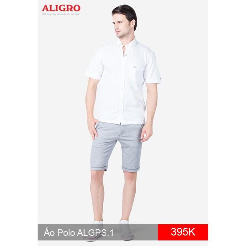 Áo thun nam dáng sơ mi sành điệu, chất liệu lacoste 100% cotton, màu trắng ALGPS.1