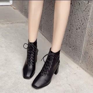 [Mã FASHIONRNK giảm 10K đơn 50K] Bốt nữ cao gót, khóa sau mix dây buộc style xứ Hàn thumbnail