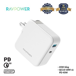 Củ Sạc RAVPower 45W Sạc Thông Minh iSmart, Qualcomm Quick charge 3.0 18W, Sạc Nhanh PD 45W Type-C RP-PC081