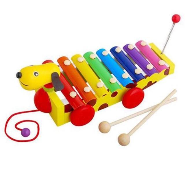 Đàn 8 âm kết hợp xe chó kéo - Đồ chơi gỗ