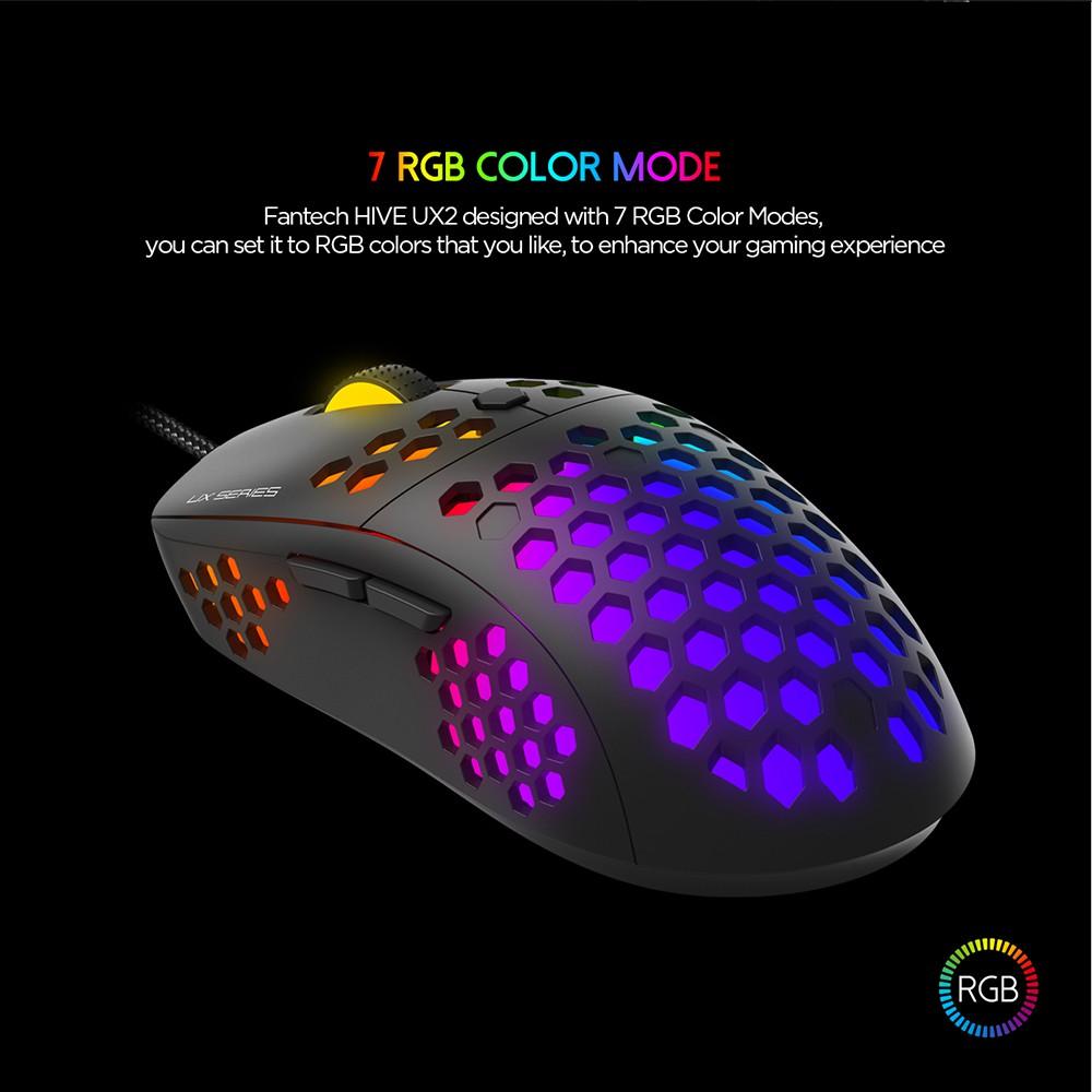 Chuột Gaming Có Dây Fantech UX2 HIVE 12000DPI LED RGB 16,8 Triệu Màu 6 Phím Macro - Hãng Phân Phối Chính Thức