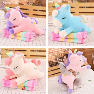 Bộ Chăn Gối Thú Bông Ngựa Unicorn 3 Trong 1 Vải Bông Tuyết Siêu Mềm