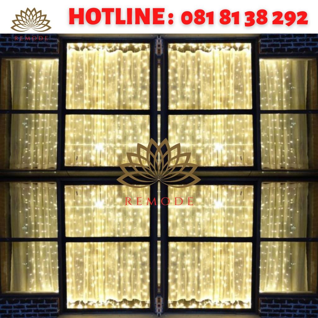 Đèn led ❤️Đèn trang trí ❤️ Đèn rèm dây thả 3m x3m màu vàng nắng.