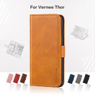Bao da điện thoại nắp gập từ tính dạng ví có ngăn đựng thẻ sang trọng thời trang cho Vernee Thor