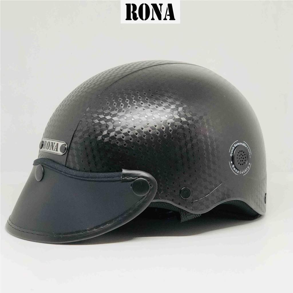 Nón bảo hiểm đi xe máy RONA R06 vân CARBON mới về dành cho nam nữ vòng đầu từ 54-58cm có thông gió 2 bên
