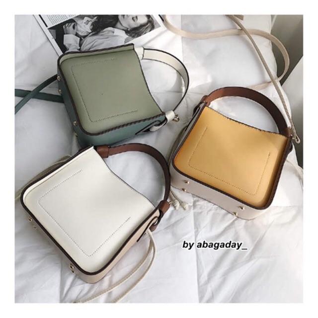 👜 #abag04 : Sen simple small bucket bag. กระเป๋าทรงถังน่ารัก สไตล์สีทูโทน จะถอดสายได้