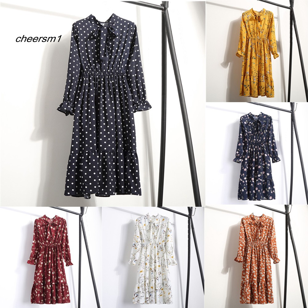 CHE♥Autumn Fashion Polka Dot Flower Print Bowknot Women Long Sleeve Chiffon Dress
