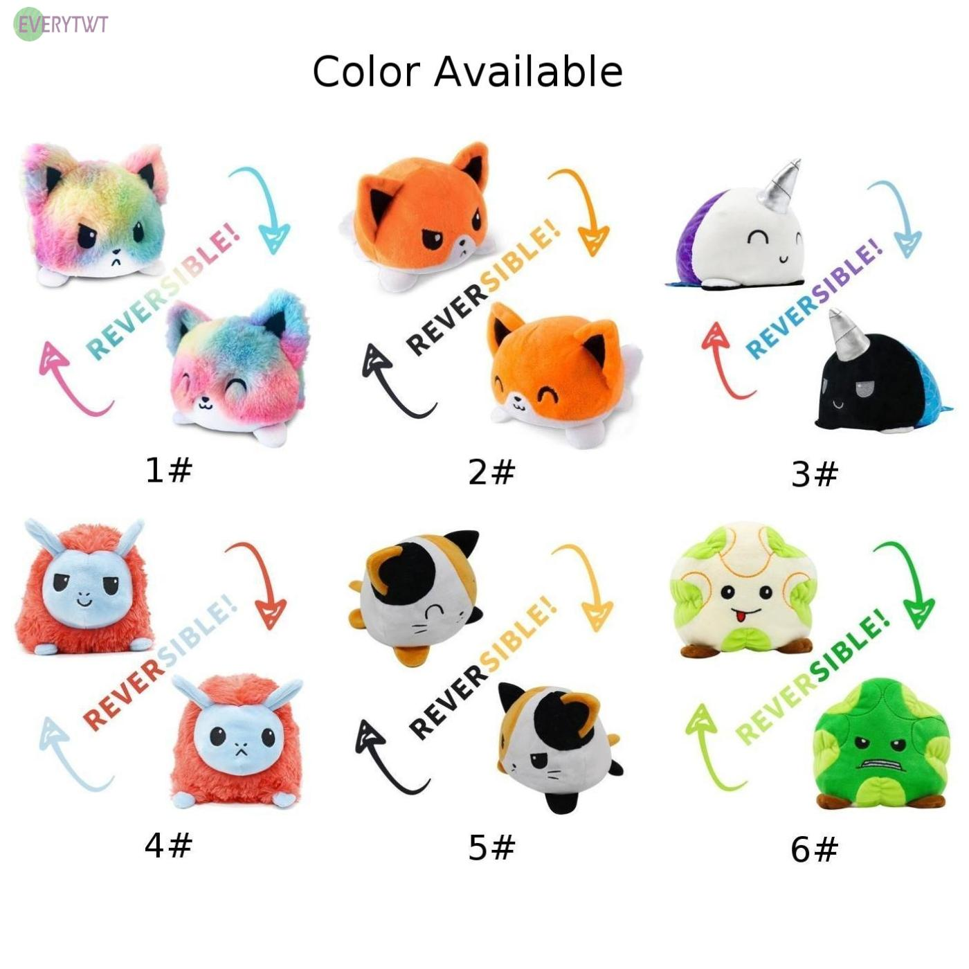 Reversible Cat Gato Plush doll Kids Plush Animal Cat Double-Sided Flip Doll Toy Cute and soft plush doll with realistic expression