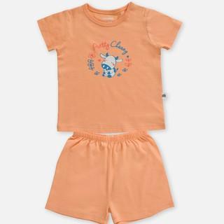 Bộ quần áo cộc cúc vai garden cam CHAANG