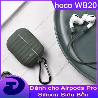 Case Silicone Hộp Đựng Cho Tai Nghe Airpods pro Hoco WB20 Dày-Cầm Chắc Tay- Ôm Khít-Chống Trầy Xước-Bụi Bẩn-Tặng Dây