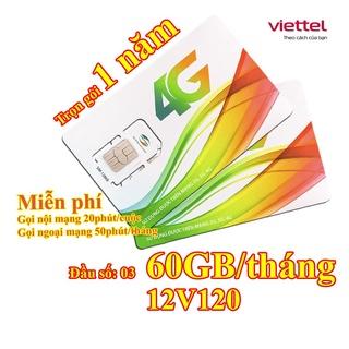 SIM 4G Viettel trọn gói 12 tháng – 12V120 – Nghe gọi free nội mạng dưới 20 phút vào mạng 2GB/ngày (SALE KỊCH SÀN)