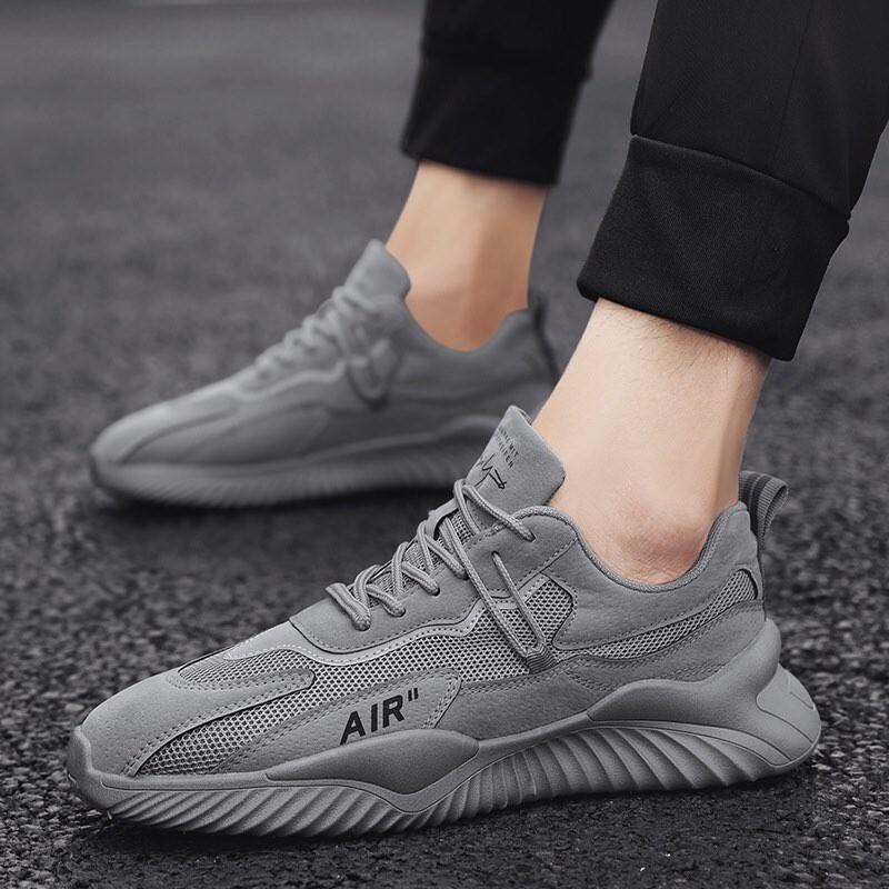 Giày Sneaker nam cá tính,giày vải dệt màu xám có lỗ thoáng khí,đế cao su mềm cực kì êm chân,siêu nhẹ và tăng chiều cao