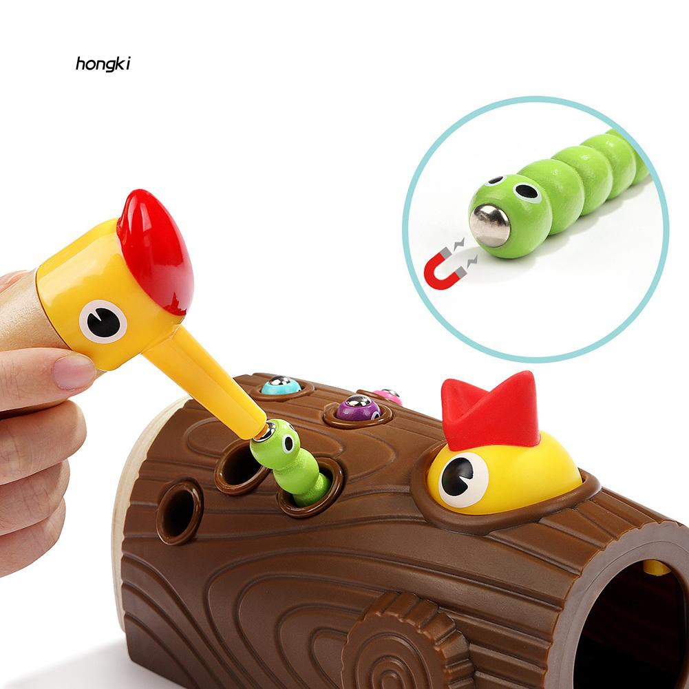 【HKM1】Wooden Magnetic Woodpecker Catch Caterpillar Worms Game Educational Kids Toy