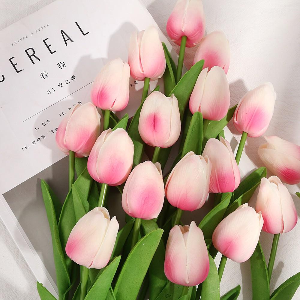 Hoa giả - Hoa Tulip lá thẳng bằng nhựa PU cao su cao cấp - Hoa lụa trang trí nội thất, để bàn, sảnh, phụ kiện chụp ảnh