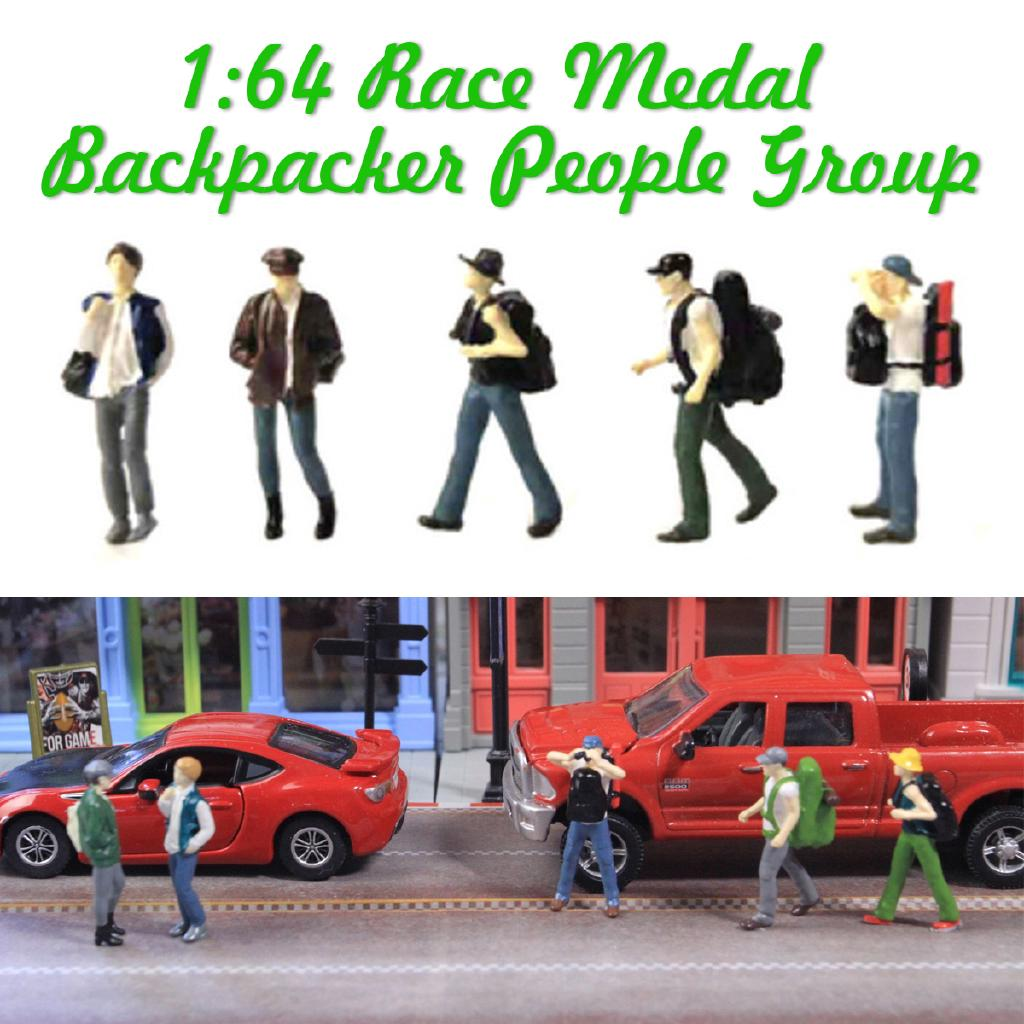 Race Medal Figure Backpacker People Group Scenario Model For Tomy Siku