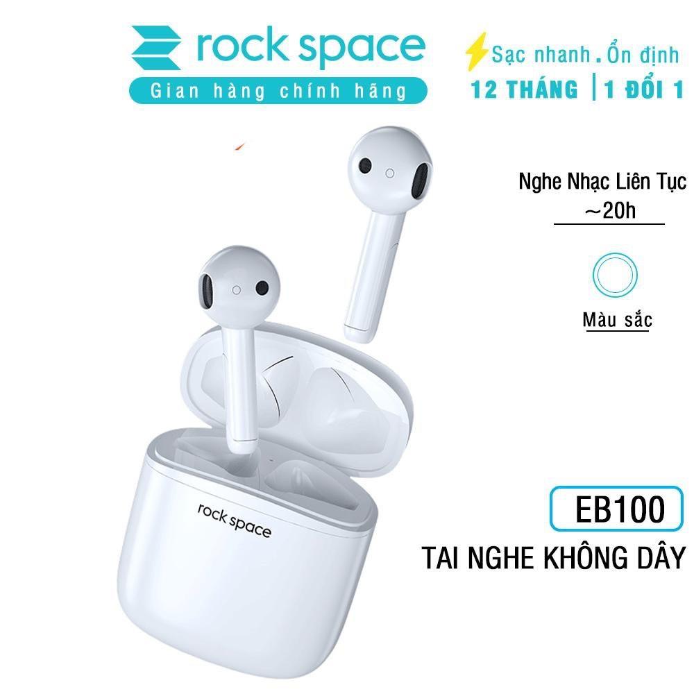 Tai nghe bluetooth không dây nhét tai Rockspace EB100, tw5, có mic, chơi game, nghe nhạc, chính hãng bảo hành 12 tháng