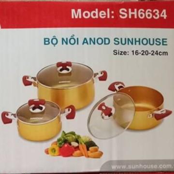 Bộ nồi nhôm Sunhouse 3 chiếc giá cự