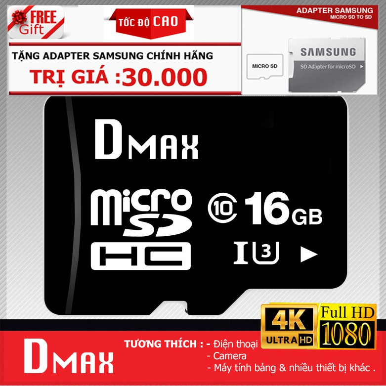 Thẻ nhớ 16Gb tốc độ cao U3, up to 90MB/s Dmax Micro SDHC - Bảo hành 5 năm đổi mới + Tặng adapter sam - 2724971 , 1231711513 , 322_1231711513 , 149000 , The-nho-16Gb-toc-do-cao-U3-up-to-90MB-s-Dmax-Micro-SDHC-Bao-hanh-5-nam-doi-moi-Tang-adapter-sam-322_1231711513 , shopee.vn , Thẻ nhớ 16Gb tốc độ cao U3, up to 90MB/s Dmax Micro SDHC - Bảo hành 5 năm đổ