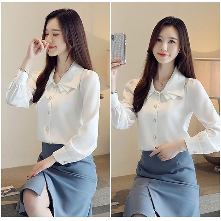 Mặc gì đẹp: Xinh xinh với Áo sơ mi nữ tay dài kiểu cổ xếp tầng màu trắng đen công sở dự tiệc dạo phố TH639
