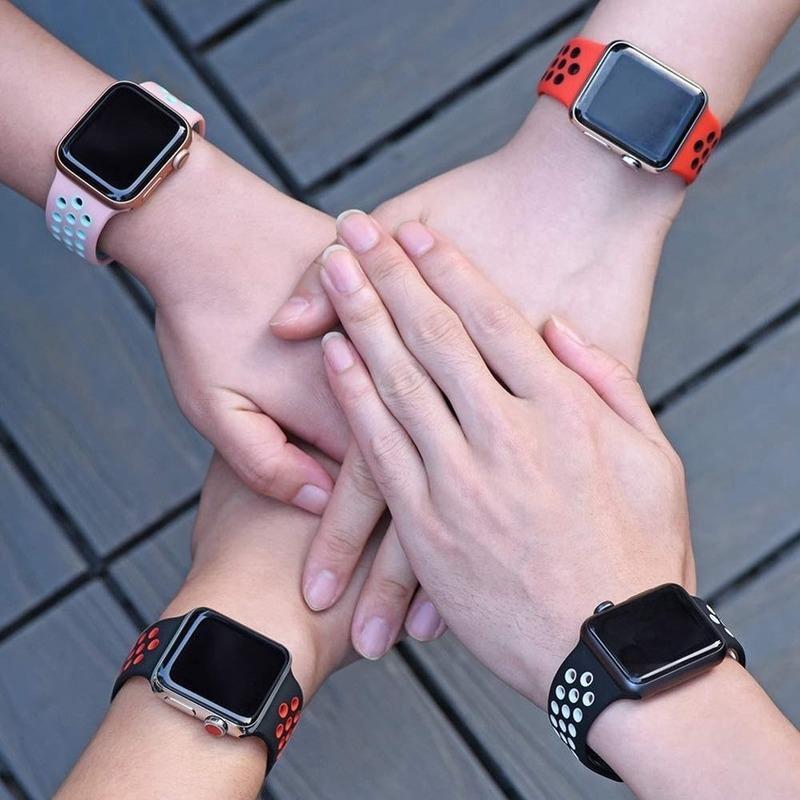 Dây Đeo Silicone Nhiều Màu Cho Đồng Hồ Apple Watch Se 6 5 4 3 2 1 Band 38mm 40mm 42mm 44mm