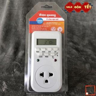 [Hàng chính hãng] Ổ cắm hẹn giờ Điện Quang ĐQ ESK DT10 W 13 Điều chỉnh điện tử, 1 lỗ 3 chấu, trắng