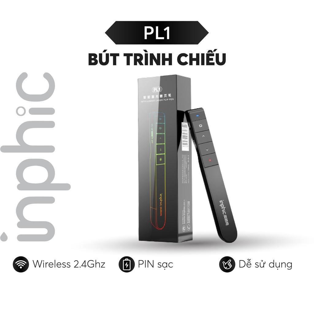 Bút Trình Chiếu Thuyết Trình Không Dây INPHIC PL1 USB Không Dây 2.4GHz Điều Khiển Từ Xa Có Kẹp Tiện Dụng - Chính Hãng