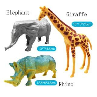 Puzzle Wild Animal Hippopotamu Elephant Rhino Giraffe Tree Seven-piece Model toy