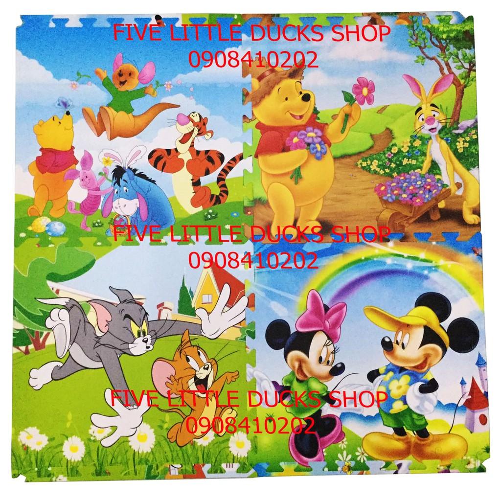 Bộ 4 tấm Thảm xốp lót sàn hình thú Disney cho bé (60x60cm)