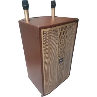 Loa Kéo Karaoke Di Động Bluetooth 3 Đường Tiếng (600W) – 4 Tấc , 2 Mic Đi Kèm, Vỏ Gỗ Cao Cấp