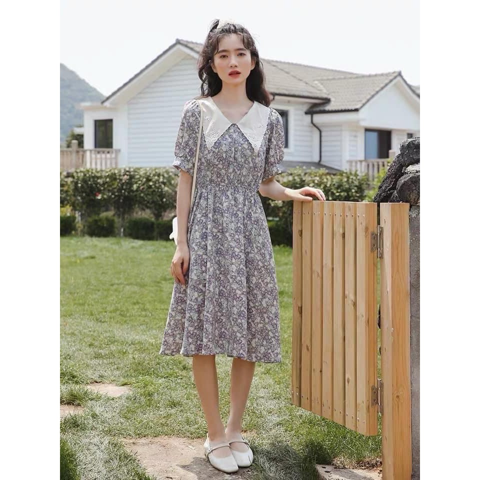 [FREESHIP50K] Váy hoa cổ thêu chun bụng vintage nhiều màu