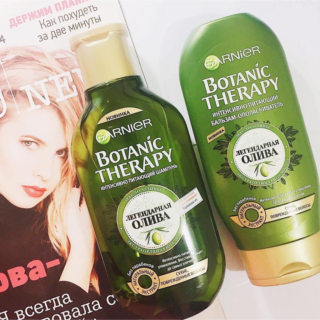 Gội xả GARNIER BOTANIC THERAPY MYTHISCHE OLIVE siêu phục hồi tóc hư tổn