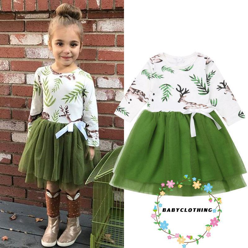Đầm xoè in hình hươu hoạt hình dễ thương cho bé gái