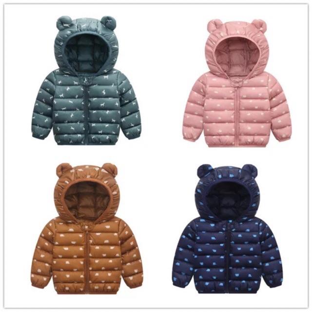 Áo phao tai gấu hoạ tiết quảng châu cho bé trai/bé gái hàng chuẩn xịn