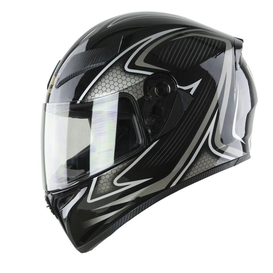 Mũ bảo hiểm Fullface M138 đen phối xám bóng size XL- 1 Kính