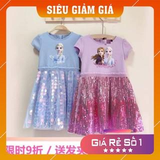 VÁY Elsa Kim Sa, Đầm xòe in hình công chúa Elsa dành cho bé gái 10-30kg