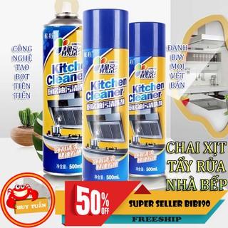 Yêu ThíchChai xịt tạo bọt tẩy rửa nhà bếp đa năng Kitchen Cleaner 500ml tặng kèm 1 đôi găng tay cao su