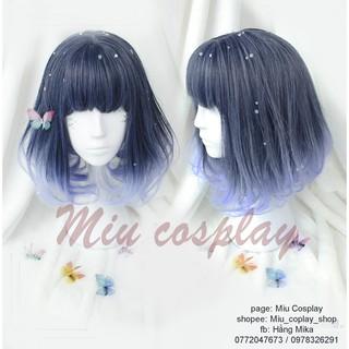 tóc giả cosplay màu xanh dương mix lolita