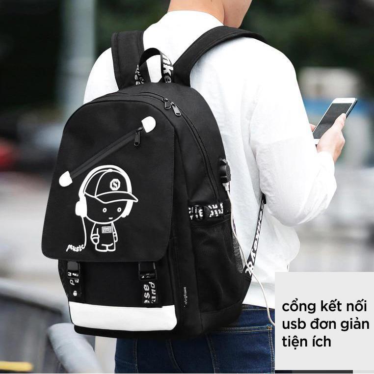 Balo Đi Học Nam Nữ KOJIBA Phát Sáng Có Sạc USB Khóa Chống Trộm Chống Nước 667840