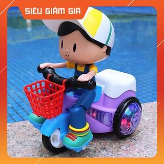 Đồ chơi Xe đạp xoay 360 độ có đèn nhạc phát sáng, siêu dễ thương