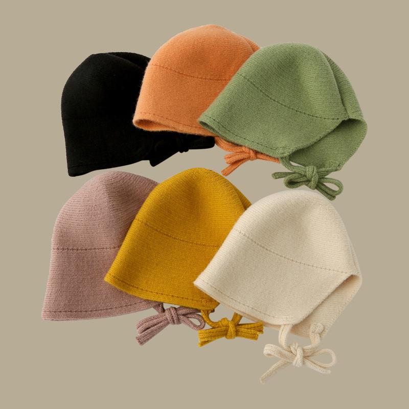 Mũ Len Dệt Kim Bảo Vệ Tai Màu Sắc Đơn Giản Phong Cách Nhật Bản Cho Bé