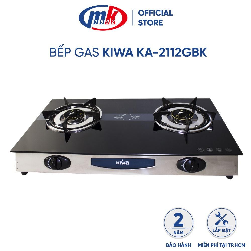 Bếp gas 2 vùng nấu KIWA KA-2112GBK_ Bếp gas dương đôi mặt kính cường lực (Bảo hành chính hãng Mekong 24 tháng)
